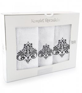 Komplet ręczników Zwoltex Sułtan Biały - 3szt. 30x50 cm + 50x60cm + 70x130cm.