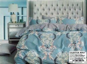Pościel Collection World 160x200 Niebieska - Szara - Żakardowa 100% bawełna wz 1339
