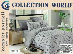 Pościel Collection World 160x200 Szara 100% bawełna wz 635