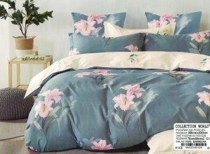Pościel Collection World 200x220 Grafitowa - Kremowa w Kwiaty 100% bawełna wz 1426