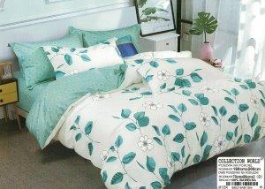 Pościel Collection World 160x200  Biało - Zielona  w Kwiaty 100% bawełna wz 1354