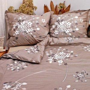 Ekskluzywna pościel satynowa Andropol 160x200 cm 100% bawełna wz. 17732/2 . Szara w Kwiaty 160x200