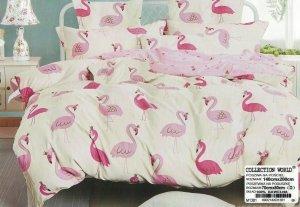Pościel  140x200 Ecru - Różowa we Flamingi 100% bawełna wz 1381. Pościel we Flamingi 140x200.