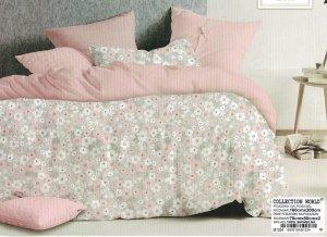 Pościel Collection World 160x200 Szara - Różowa w Kwiaty 100% bawełna wz 1334
