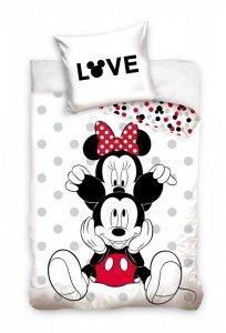 Pościel młodzieżowa Myszka Mickey i Minnie 160x200 cm 100% bawełna. Myszka Minnie i Mickey