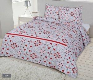 Pościel Flanelowa Biało - Szara w Czerwone Kwiaty 160x200 Matex 100% bawełna F-56A