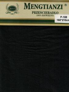 Czarne prześcieradło bez gumki 160x200 cm 100% bawełna Mengtianzi P-118