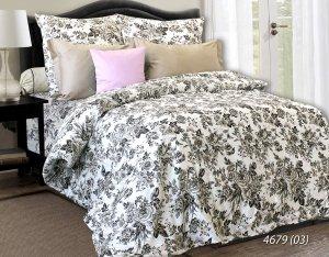 Pościel satynowa Luxury 160x200 Biała w Kwiaty 100% bawełna. Pościel w kwiaty 160x200