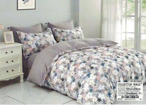 Pościel Collection World 160x200  Szara w Kwiaty 100% bawełna wz 1421