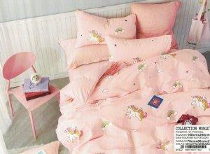 Pościel Collection World 160x200 dla dzieci -Różowa w Jednorożce - 100% bawełna wz 1322