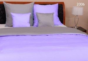 Szara - Fioletowa Gładka pościel z makosatyny 160x200 Oritex 100% bawełna. Dwukolorowa pościel Szaro - Fioletowa 160x200