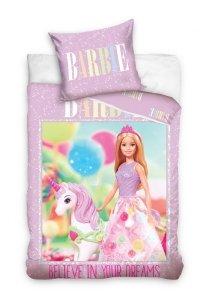 Pościel Barbie 160x200 Różowa dla dziewczynki Carbotex BARB201015B