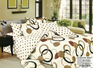 Pościel Collection World 200x220 Ecru - Brąz 100% bawełna wz 412