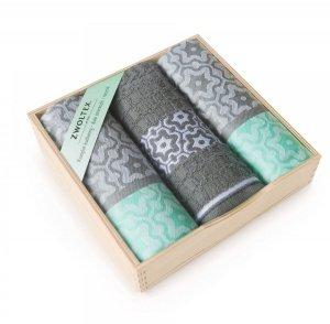 Komplet kuchenny w drewnianym pudełku. Ścierki kuchenne Zwoltex Marsala Miętowy 2x50x70 + 1x30x50 cm