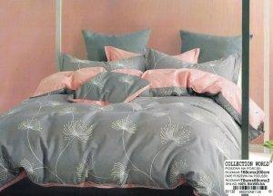 Pościel Collection World 160x200 Szaro - Różowa w Dmuchawce 100% bawełna wz 1138
