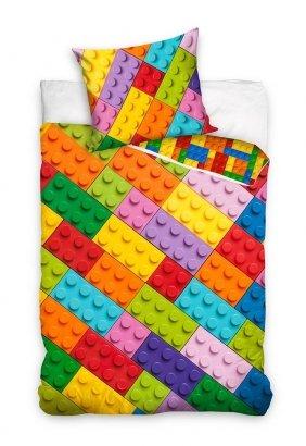 Pościel młodzieżowa Klocki 160x200 Carbotex 100% bawełna wz NL201073