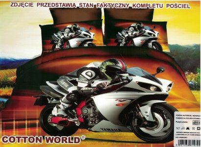 Pościel 3D Motor Ścigacz Yamaha R1 Cotton World 100% mikrowłókno wz. Motor 02. Poście z Motorem 160x200.