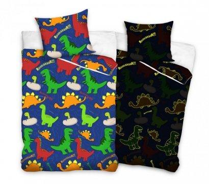 Świecąca w nocy pościel dla dzieci z Dinozaurami 160x200 cm Carbotex 100% bawełna. Dinozaury 160x200