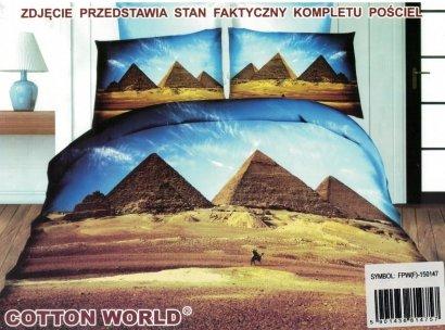 Pościel 3D Piramidy w Gizie Cotton World 160x200 100% mikrowłókno. Pościel 3D Egipt