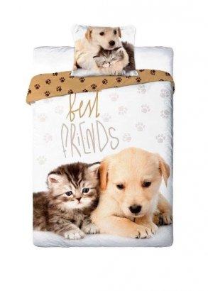 Pościel młodzieżowa 3D 140x200 Piesek - Kotek Faro 100% bawełna. Pościel 3D z kotkami 140x200 Best 014