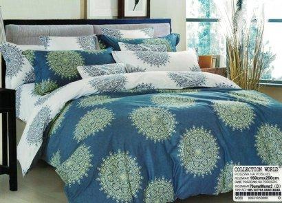 Pościel Collection World 160x200 Niebieska - Biała 100% bawełna wz 988