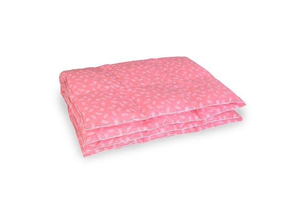 Kołdra z półpuchu 160x200 cm Różowa w białe piórka.