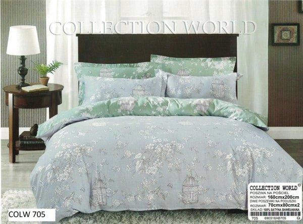 Pościel Collection World 160x200 Szara - Zielona w Kwiaty wz 705