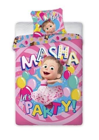 Pościel dla dzieci Masza i Niedźwiedź 160x200 - różowa dla dziewczynki