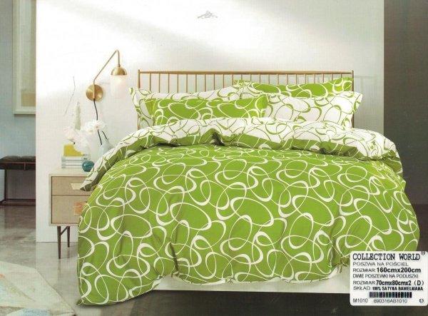 Pościel Collection World 160x200 Biała - Zielona wz 1010