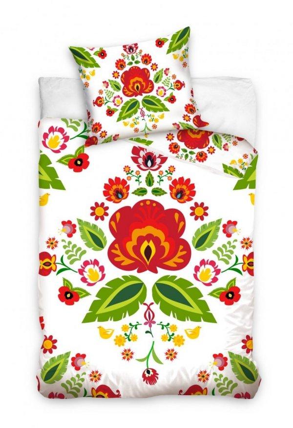 Biała folkowa pościel 140x200 cm - Carbotex 100% bawełna