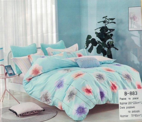 Pościel Mengtianzi 200x220 błękitna w Kwiaty B-883