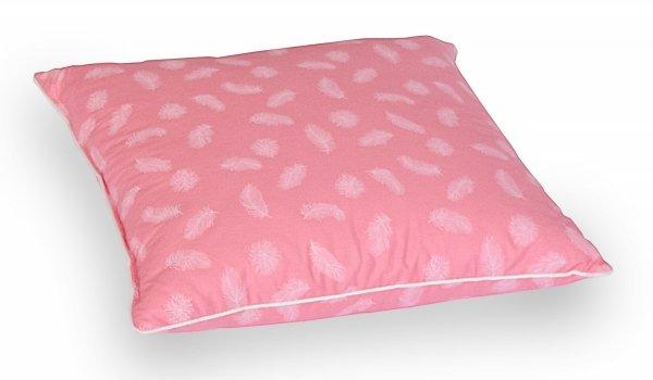 Poduszka z półpuchu 40x40cm Różowa w białe piórka