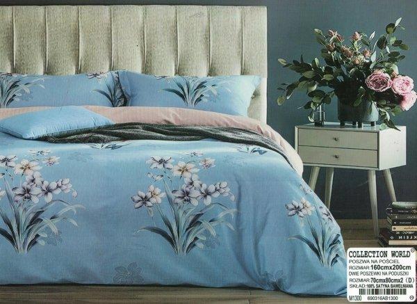 Pościel Collection World 160x200 Niebieska - Beżowa w Kwiaty