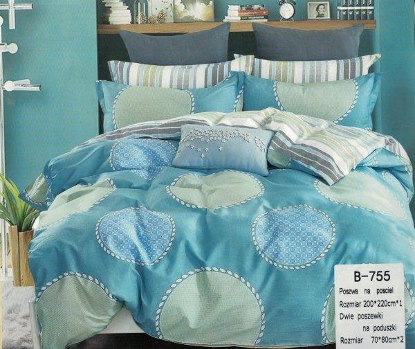 Niebieska pościel 200x220 Mengtianzi 100% bawełna B-755