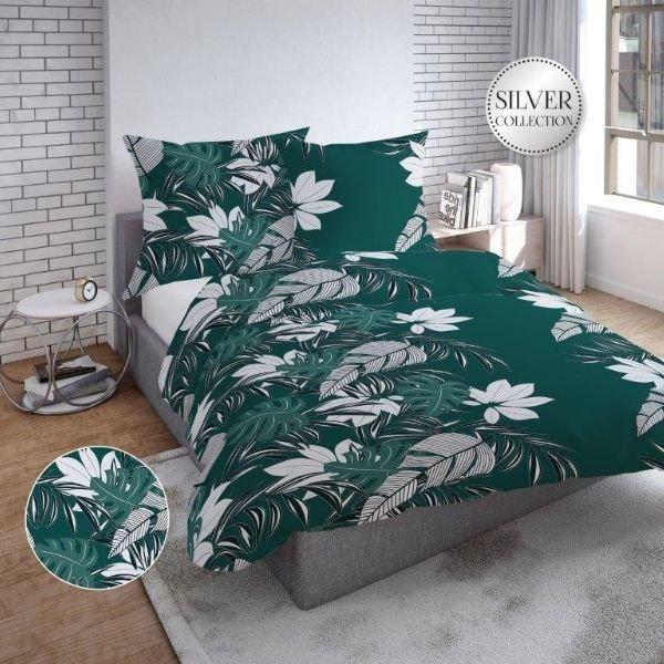 Zielona pościel w liście - bawełna satynowa 160x200 - Tęcza
