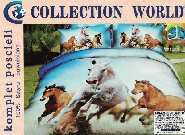 Komplet pościeli 3D 160x200 Collection World - Konie w Galopie