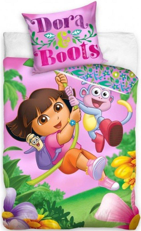 Pościel dla dziewczynki Dora 160x200 Różowa 100% bawełna