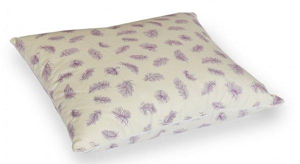 Poduszka pióra darte 40x40 cm Ecru w fioletowe piórka