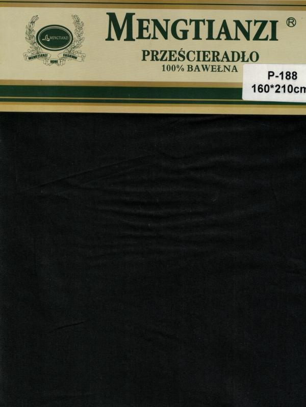 Czarne bawełniane prześcieradło bez gumki 160x200 Mengtianzi P-188