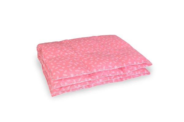 Kołdra z puchu gęsiego 140x200 Różowa w białe piórka
