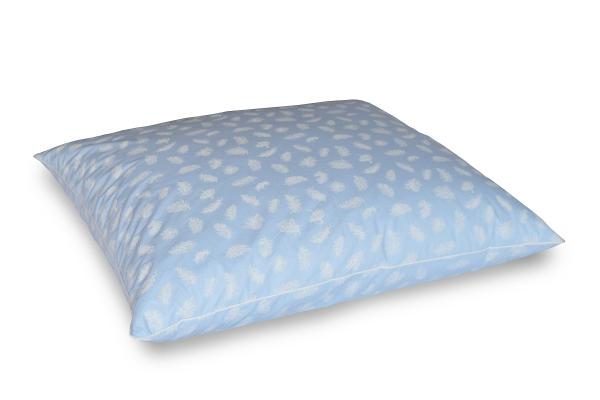 Poduszka z piór dartych 70x80 cm Niebieska w białe piórka