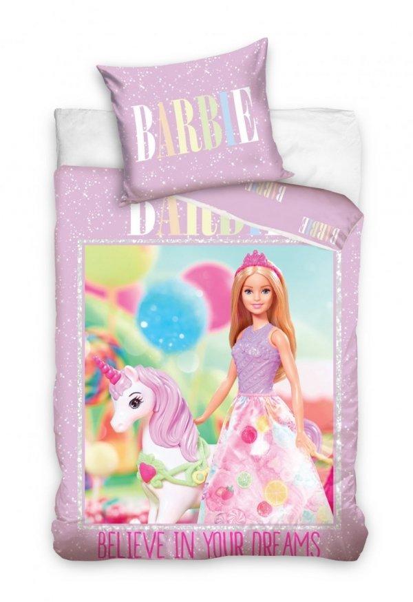 Pościel dla dziewczynki Barbie 160x200 - Różowa - Carbotex