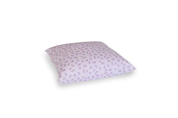Poduszka z półpuchu 50x60 cm Fioletowa w fioletowe piórka Polpuch