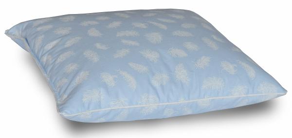 Poduszka pióra darte 40x40 cm Niebieska w białe piórka
