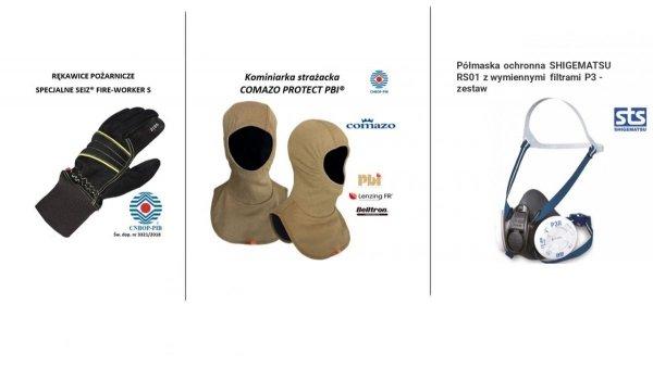 Zestaw 11. Półmaska ochronna STS Shigematsu RS01 z dwoma zestawami filtrów + kominiarka Comazo Protect PBI + rękawice specjalne Seiz Fireworker S