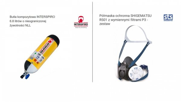 Zestaw 12. Cylinder kompozytowy Interspiro 6,8l NLL z pokrowcem + półmaska ochronna STS Shigematsu RS01 z zestawem filtrów - 2 kpl