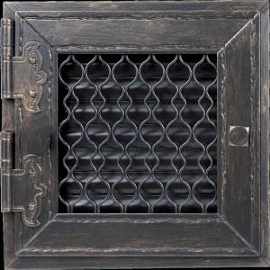 KRATKA kominkowa retro otwierana pojedyńcza grafitowy antyk 17x17