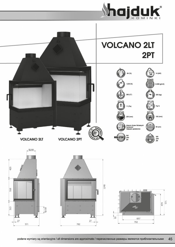 HAJDUK Volcano 2LT bez szprosa