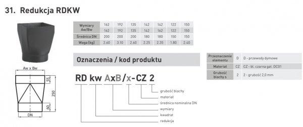 Redukcja prostokąt / okrąg o średnicy rury dymowej DN 120mm / 122x122