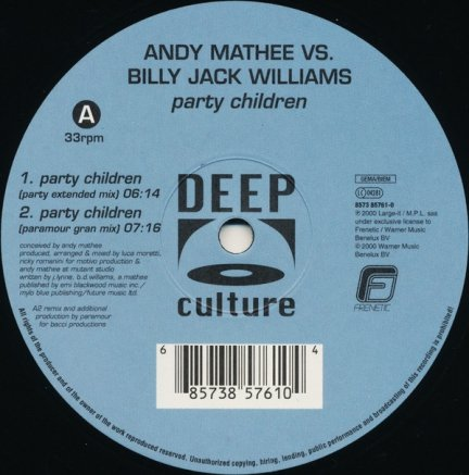 Andy Mathee Vs. Billy Jack Williams - Party Children (12'')